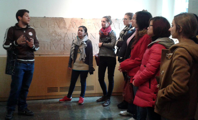 Visiting the Roman ruins at the Museum of Barcelona History