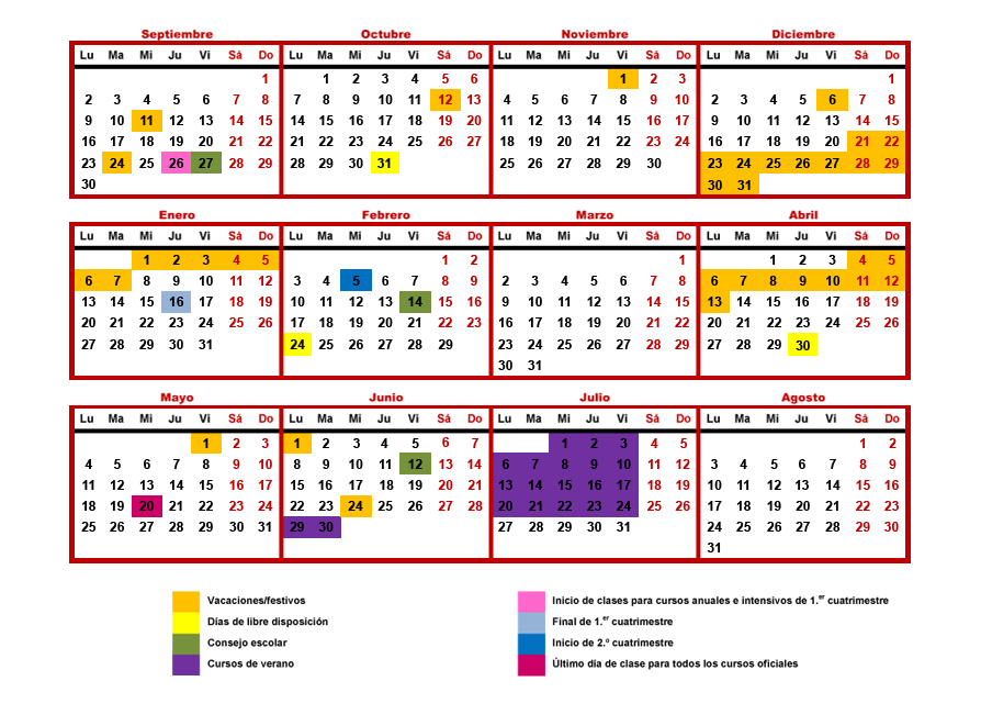 Calendario Escolar 2019 20 Eoibd